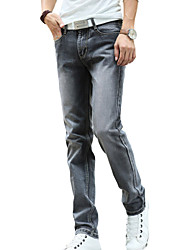 Men's Mid Rise Micro-elastic Straight Jeans Pants,Vintage Casual Solid Cotton Polyester All Seasons