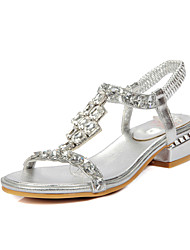 cheap -Women's Shoes PU Spring Summer Fall Sandals Chunky Heel Block Heel Peep Toe Rhinestone for Casual Dress Party & Evening Gold Silver