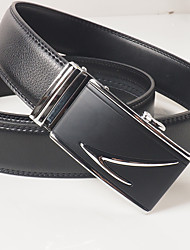 Men's leisure fashion automatic black leather belt buckle black/silver agio automatically with about 3.6 cm wide