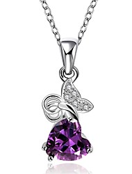 Pendentif de collier Améthyste Zircon cubique Forme de Coeur Forme Géométrique Forme d'Animal Papillon Cristal Zircon Cuivre Plaqué or