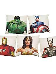 Set of 5 Green Giant Iron Man pattern  Linen Pillowcase Sofa Home Decor Cushion Cover (18*18inch)