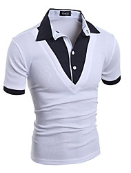 cheap -Men's Daily Sports Club Casual Punk & Gothic Street chic All Seasons T-shirt,Solid Shirt Collar Short Sleeves Cotton Spandex