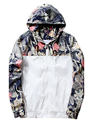 cheap -Men's Simple Casual Active Street chic Plus Size Jacket-Solid Colored Floral Camouflage Hooded