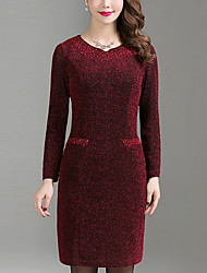 Women's Plus Size Going out Simple Shift Dress,Solid Beaded Round Neck Above Knee Long Sleeve Polyester Blue Red Spring Fall Mid Rise
