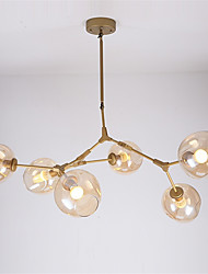 Northern Europe Vintage Gold Chandelier 6 heads Glass Molecules Pendant Lights Living Room Dining Room