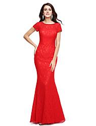 cheap -Sheath / Column Jewel Neck Floor Length Lace Formal Evening Dress with Beading