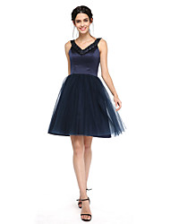 cheap -Ball Gown V-neck Knee Length Satin Tulle Bridesmaid Dress with Beading by LAN TING BRIDE®