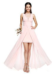 cheap -A-Line Bateau Neck Asymmetrical Chiffon Bridesmaid Dress with Pleats / Lace Insert by LAN TING BRIDE®