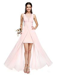 cheap -A-Line Bateau Neck Asymmetrical Chiffon Bridesmaid Dress with Lace Inset Pleats by LAN TING BRIDE®