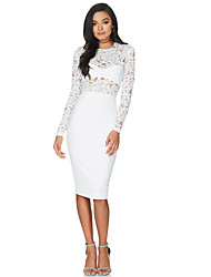 Women's Lace Casual/Daily Party Holiday Sexy Street chic Sophisticated Bodycon Lace Dress,Solid Round Neck Knee-length Long Sleeve Polyester