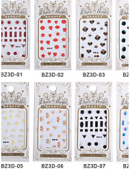 8PCS BZ 3D Nail art Gem Paragraph Bring Back Glue Directly Stick Nail Stickers 01-08