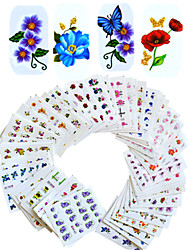 1set 55pcs Mixed Nail Art Sticker  Water Transfer Decals Beautiful Flower Design DIY Nail Art Beauty BJC55