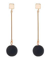 Lureme Fashion Little Metal Square with Cute Velvet Ball Pendant Long Earrings