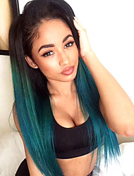 Two Tone Ombre T1B/Dark Blue Color Human Hair Lace Wigs Straight Hair 130% Density Brazilian Virgin Hair Glueless Lace Front Wigs For Black Woman