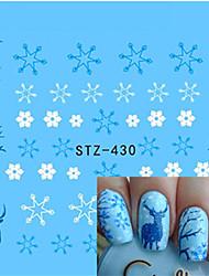 1pcs Beautiful Christmas Nail Water Transfer Decals Sweet Sticker Beautiful Snowflakes Cute Xmas Deer Design Nail Beauty Tip STZ-430