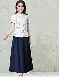 mulheres&# 39; s placa 2017 Primavera impressão eólica nacional de mangas curtas terno pequena camisa fino colarinho botões clássico