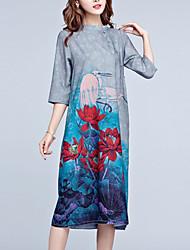 abordables -Mujer Corte Ancho Vestido Noche Tallas Grandes Vintage,Estampado Escote Chino Midi Seda Poliéster Primavera Tiro Medio Microelástico Medio