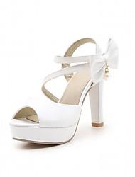 preiswerte -Damen Schuhe Kunststoff Kunstleder PU Frühling Sommer Komfort Neuheit Sandalen Walking Blockabsatz Peep Toe Schleife für Normal Büro &