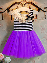 cheap -Girl's Solid Striped Dress,Cotton Spring Summer Sleeveless Lace White Purple