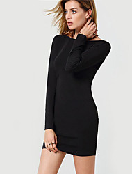 Casual/Daily Party Holiday Sexy Street chic Sophisticated Bodycon Lace Dress,Solid Round Neck Knee-length Long Sleeve Polyester