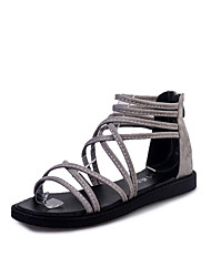 Women's Sandals Comfort PU Spring Summer Casual Dress Comfort Braided Strap Flat Heel Black Light Grey Flat