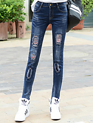 Sign Spring new large size hole casual jeans female fat MM was thin stretch pencil Embroidery
