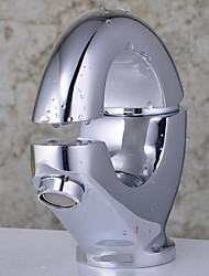 economico -Contemporaneo Miscelatore canna bassa Installazione centrale Ampio spray Flessibile with  Valvola in ceramica Una manopola Un foro for