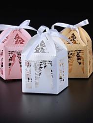 porte-favoris en papier perlé cuboïde avec des rubans favorisent les boîtes-50 faveurs de mariage