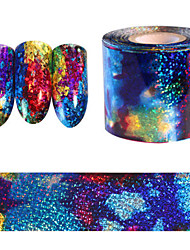 5*20CM Gradient Starry Sky Nail Foil Blue Holographic Paper Nail Art Sticker