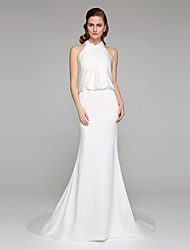 cheap -Mermaid / Trumpet High Neck Court Train Charmeuse Made-To-Measure Wedding Dresses with Criss-Cross by LAN TING BRIDE® / Open Back