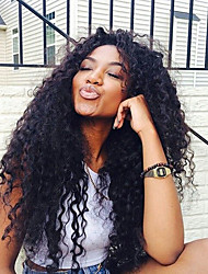Hot Sale Virgin Human Hair Wig For Black Woman Curly Natural Black Color Glueless Lace Front Wig With Baby Hair Medium Lace Cap
