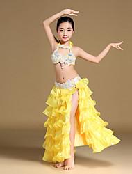 Břišní tanec Úbory Dětské Výkon Čínský nylon Organza SaténLemování Kaskádové volánky Křišťály / Bižuterie Palety barev Rozparek vpředu