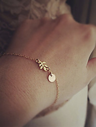Women's Chain Bracelet Basic Costume Jewelry Bohemian Fashion Simple Style Alloy Circle Leaf Jewelry For Wedding Party Birthday Daily