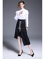Camicia Da donna Ufficio Semplice Primavera Autunno,Tinta unita Colletto alla coreana Cotone Bianco Manica lunga Medio spessore