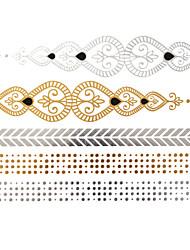Séries de Jóias Tatuagem Adesiva - Estampado - para Feminino/Girl/Adulto/Adolescente - de Papel - Dourada - #(23x15.5) -#(Chinese