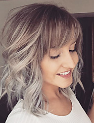 Ashy Blend Medium Natural Wavy Capless Human Hair Wig Lob Hairstyle For Women 2017