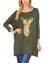 comércio aliexpress amazon na Europa e América cervos christmas manga t-shirt impressão morcego solta manga t