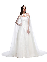 cheap -Lace Tulle Wedding Party Evening Women's Wrap With Lace Button Capes