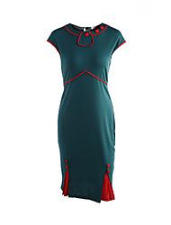 Women's Vintage/Sexy/Cute/Party/Work Short Sleeve Knee-length Dress (Cotton Blends)