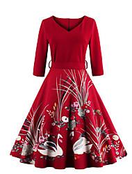 Balançoire Robe Femme Décontracté / Quotidien Chic de Rue,Imprimé Coeur Midi Manches ¾ Rouge Noir Coton Printemps Automne Taille Normale