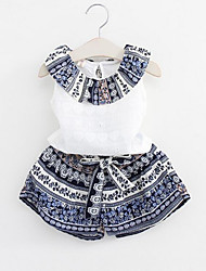 cheap -Girls' Daily Patchwork Clothing Set, Rayon Polyester Summer Sleeveless Blue Blushing Pink