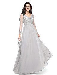 cheap -A-Line V-neck Floor Length Chiffon Prom Formal Evening Dress with Beading Appliques Ruching by TS Couture®