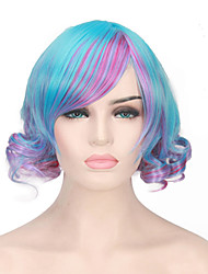 Cosplay Party Performance Wig Heat Resistant Blue Purple Mixed Color Wave BOB Style Fashion Short Wig
