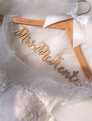 Personalized Wedding Hanger Custom Bridal Hanger Natural Wood Hanger with Metallic Gold Name