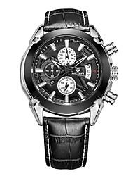 Masculino Relógio Elegante Quartzo Calendário Impermeável Mostrador Grande Couro Legitimo Banda Casual Preta Marrom Preto Marron