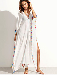 cheap -Women's Holiday Going out Beach Sexy Boho Loose Sheath Dress,Solid V Neck Maxi Polyester Summer High Rise Micro-elastic Thin
