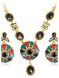 cheap -Rhinestone Gold Plated Imitation Diamond Jewelry Set 1 Necklace 1 Pair of Earrings - Luxury Vintage Bohemian Round Jewelry Set For Party