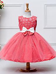 economico -Bambino (1-4 anni) Da ragazza Florale / Con fiocco Jacquard Senza maniche Vestito / Cotone