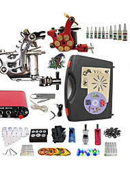 Starter Tattoo Kit 1 steel machine liner & shader 1 alloy machine liner & shader Tattoo Machine Mini power supply 10 × 5ml Tattoo Ink 2 x