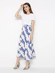 Going out Casual/Daily Midi Skirts,Cute Street chic Swing Trumpet/Mermaid Knitting Solid Print Spring